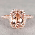 Luxury Champagne Crystal Rose Gold Filled Wedding Engagement Ring Size 6-10 image