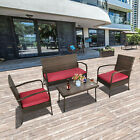 Patio Rattan Furniture Wicker 4 Pcs Sofa Conversat Set Cushioned Outdoors Table