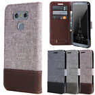 For LG G6 / G5 Luxury Flip Canvas Leather Wallet Stand Full Body Skin Case Cover
