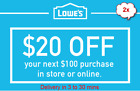 Lowes 1x/2x/3x/5x $20 off $100 for Online / In-store Purchase *FAST* code