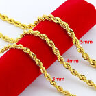 Men's Jewelry 14k Yellow Gold Filled Twist Rope Chain Hip Hop Long Necklace 24""