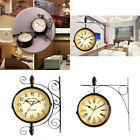 Vintage Outdoor Double Sided Wall Mount Station Clock Home Garden Decor