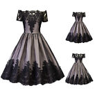 Women Vintage Style 50S 60s Lace Off Shoulder Rockabilly Evening Party Dress