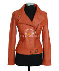Tara Orange Ladies New Retro Designer Real Waxed Lambskin Leather Fashion Jacket