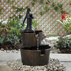 Barrel Effect Water Feature Wooden Bucket & Pump Cascading Garden 3Tier 69cm NEW