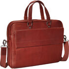"Mancini Leather Goods Colombian Leather Slim 17"" Non-Wheeled Business Case NEW"