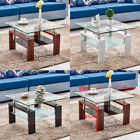Coffee Table Utterly Tempered Glass Top with Shelf White Brown Black Living Room