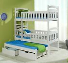 Bunk Bed Triple Wooden High Sleeper Kids Bedroom Frame 2 Sizes 4 Mattresses Wood