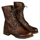 Men's Punk Motorcycle Leather Oxfords Boots Military  Lace u