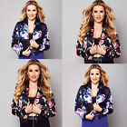 New Fashion Women Ladies Floral Zipper Up Bomber Jacket Casual Coat Outwear size