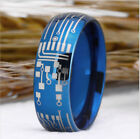 US Design Circuit Board 8MM Tungsten carbide Ring Shiny Blue Dome Men's Jewelry image