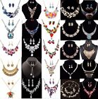 Women Chain Pendant Choker Bib Crystal Charm Statement Necklace Set Earrings