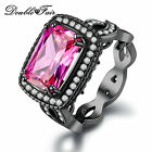 Square Pink Stone Cubic Zirconia Black Gold Plated Fashion Party Rings For Women