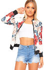 Womens Floral Rose Print Long Sleeve Zip Bomber Jacket Ladies Fitted Coat Top