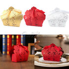10/50/100×Laser Cut Hollow Candy Box Wedding Party Favors Gift Bags with Ribbon