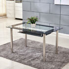 Black Glass Dining Table and 4 or 6 Chairs Faux Leather Kitchen Furniture Modern <br/> Please Note: 2 4 6 chairs type do not contain table