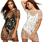 Womens Sheer Mesh Mini Dress Ladies Floral Embroidery Short Sleeve Round Neck