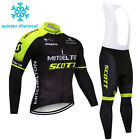 Men Cycling Winter Set Clothing Black Thermal Long Sleeve Jersey Bicycle Clothes