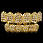 14K Gold Plated ICED OUT CZ Teeth GRILLZ Top Bottom Tooth Caps Bling Hip Hop NEW