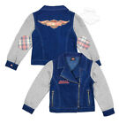 Harley-Davidson Girls Youth Winged B&S Glitter Print Denim Fleece Blue Jacket $14.99 USD on eBay