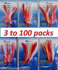 3 100 packs 3 0 Rock cod feather rigs red white rockfish baits 2 Rigs pack