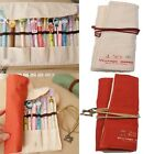 Canvas Wrap Roll Up Pen Case Pencil Bag Makeup Brushes Holde