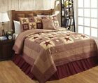 FARMHOUSE COUNTRY PRIMITIVE COLONIAL STAR BURGUNDY QUILTED BEDDING COLLECTION image