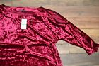 Spense Royal Cherry Velour Top 3/4 Sleeve Blouse with Shoulder & Arm slits