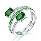 By Pass Ring Russia Chrome Diopside Solid 925 Sterling Silver Christmas Gift