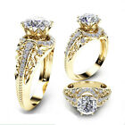 Gorgeous Women Jewelry 18k Yellow Gold Plated White Sapphire Ring Wedding Sz6-14