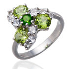 Natural Green Peridot & Chrome Diopside Solid 925 Sterling Silver Ring Gemstone