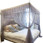 Gray 4 Corner Post Bed Curtain Canopy Mosquito Net Twin Full Queen King image