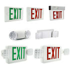 LED Exit Sign Emergency Light Red/Green Compact Combo Fire Safety Battery Backup