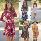 Womens Long Sleeve Maxi Tunic Dress Casual Floral Loose Shor
