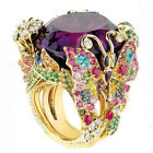 Women's 18k Yellow Gold Filled Multicolor Topaz Gemstone Butterfly Ring Wedding