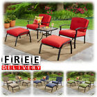 Outdoor Patio Furniture Set 5 Piece Table Chairs Ottoman Bistro Leisure Set