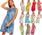 Womens Linen Loose Ribbed Geometric Print Stretch Pocket Dress Ladies New