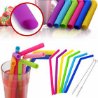 6/12PCS Straws Reusable Silicone Drinking Straw with Cleaning Brushes Set 2018