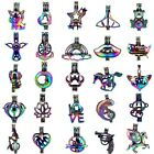 Rainbow Color Pearl Cage Charm -moon Heart Horse Ghost Charm Diffuser