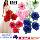 50x Artificial Fake Silk Rose Flowers Bridal Bouquet Wedding Party Home Decor