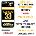 Pittsburgh Penguins Personalized Hockey Jersey Phone Case Cover for iPhone etc.