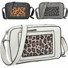 New Women's Faux Leather Leopard Panel Pocket Small Crossbody Bag