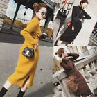 Winter Women High Waist Belt Turtleneck Knitted Stretch Part