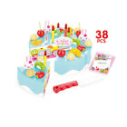 38PC Pretend Role Play Kitchen Toy Happy Birthday Cake Food DIY Cutting Set Kids