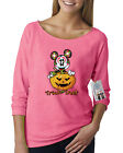 Womens Off Shoulder French Terry Top Trick Or Treat Halloween Mickey