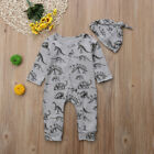 US Organic Cotton Newborn Baby Boy Dinosaur Romper Jumpsuit