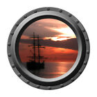 The Sunset Galleon Porthole Vinyl Wall Decal