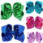 8 inch Hair Bow Alligator Clips Big Large Sequin Headwear Girls Hair Accessories