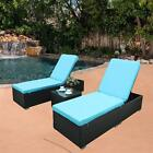 HTTH3 Pcs Outdoor Patio  Adjustable Rattan Wicker Furniture Chaise Lounge Chair