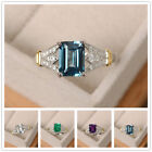 Elegant Women 925 Silver Wedding Rings Emerald Cut Birthstone Ring Size 6-10 image